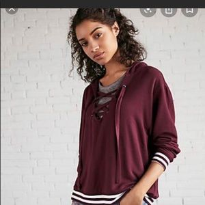 Express lace up hooded sweatshirt small